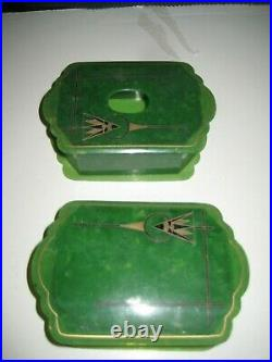 17 Pc. Antique Art Deco Bakelite Celluloid Green Vanity Dresser SetClockTray++