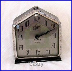 1920's ANTIQUE ART DECO INGRAHAM THE GABLE 8-DAY ALARM CLOCK- RUNNING SERVICED