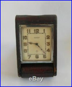 1920's Art Deco Jaeger Le Coultre Leather Cased 8 Day Travel Clock