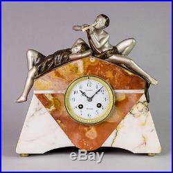 1920 S French Art Deco Nouveau Mantel Clock By Sega Signed