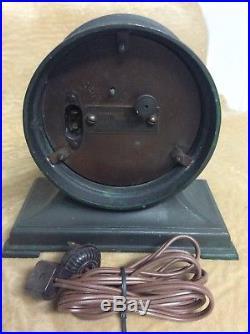 1927 Telechron Radio Art Deco Clock in Verde Green Metal Body Antique electric