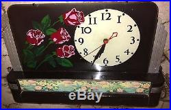 1930's ART DECO FOUR ROSES WHISKEY ADVERTISING LIGHTED CLOCK GREAT WORKING COND