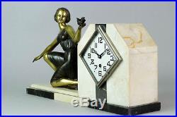 1930's FRENCH ART DECO MANTEL CLOCK SET MARTI