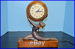 1930's FRENCH STYLE ART DECO FEMALE NUDE MANTLE SESSIONS CLOCK WORKING WOOD BASE