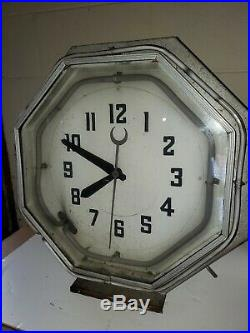 1930's Original 8 Sided Neon Clock Art Deco 2 Colors Green And White