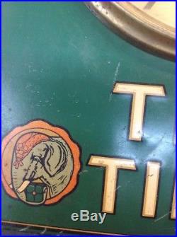 1930s Tetley Tea Time Art Deco All Metal Advertising Wall Clock Embossed Vintage