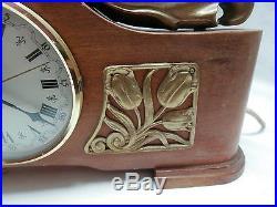 1940s Art Deco Sessions Electric Mantle Clock Bronze Kissing Dutch Couple Tulips