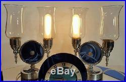 30's Art Deco Telechron Electric Clock Mirror Lamps Jacques Bars Luxor Set RARE
