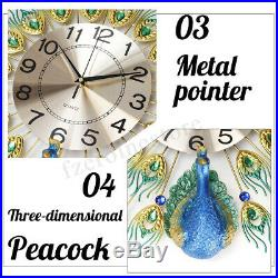 3D Creative Peacock Large Wall Clock Metal Home Living Room Art DIY