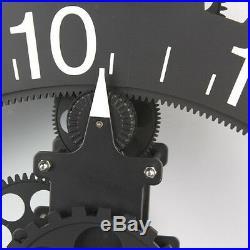 3D Modern Large Wall Art Rotary Gear Clock Mechanical Calendar Decor Black