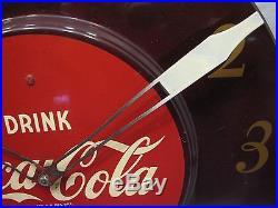 50s Vintage Coca-Cola Art Deco Advertising Clock Sign Coke 18 Round