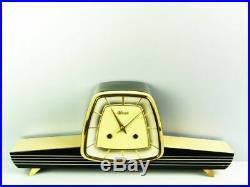A Dream In Black Later Art Deco Design Chiming Mantel Clock Hermle 50 ´s