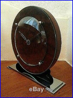 A SUPERB 1930's ART DECO CHROME & VENEER MANTLE CLOCK MINIMALIST MODERNIST