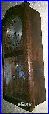 ANTIQUE ART DECO MAUTHE WALL CLOCK-8-Day-KEY WIND-TIME STRIKE