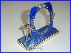 Antique Art Deco Silver Guilloche Enamel Pocket Watch Holder Clock Case C1932