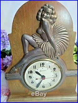 ANTIQUE Vintage ART DECO wood mantle CLOCK metal FIGURINE ballerina SESSIONS 11