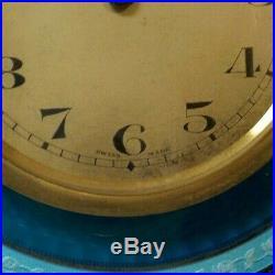 ART DECO Period 8-Day Travel Clock Sterling Silver & Guilloche ENAMEL Case