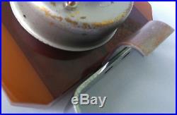 ART DECO Phenolic BAKELITE BAYARD French Clock Cherry Amber Eggyolk Vtg. Plastic