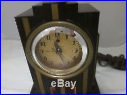 Art Deco Telechron Clock Brown Bakelite Skyscraper Design Red & Gold Accents