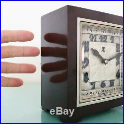 ATO LEON HATOT Mantel Antique Clock ART DECO BAKELITE 1930s ELECTRIC SILVER Dial