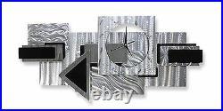 AWESOME GEOMETRIC CLOCK! Modern Metal Wall Clock Art SILVER BLACK Deco Jon Allen