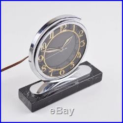 Alte Tischuhr Uhr elektrisch & schwenkbar Marmor Vintage Clock Art Deco