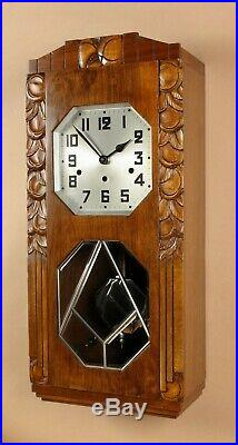 An Art Deco Westminster Carillon Walnut Wall Clock French/Germany circa 1940