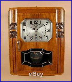 An Art Deco Westminster Girod Carillon Oak, Walnut Wall Clock French circa 1940