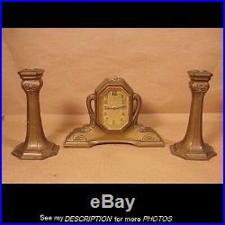 Antique 1920s 3pc Art Deco Lux Clock & Candlesticks Set