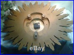 Antique Art Deco 1930s Smiths Sunburst Starburst Gesso Gilt Wall Clock Battery