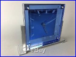 Antique Art Deco Blue Mirror Glass Stepped Mantle Clock Rohde Era