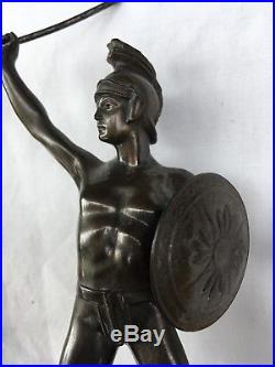 Antique Art Deco Bronzed Metal Roman Gladiator Clock Set Neoclassical Regency