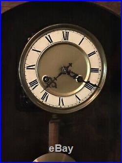 Antique Art Deco German Regulator Wall Clock Deep Gong Chime Strike Serviced Key