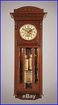 Antique Art Deco Gustav Becker 2 Wt Vienna Regulator Wall Clock