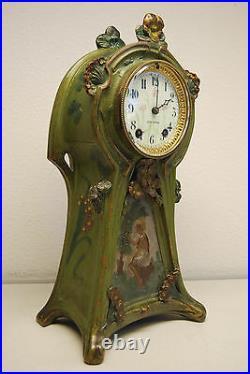 Antique Art Nouveau Deco Victorian Mantel Erotic Arts Crafts Seth Thomas Clock