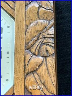 Antique Comptoir Cardinet Paris Wall Clock Oak Casework Art Deco
