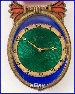 Antique E. Gubelin Art Deco Design Wall Clock Green & Blue Enamel Face & Ribbon