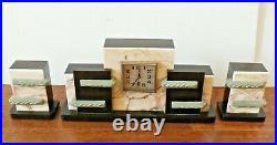 Antique French Art Deco 3 Piece Black Marble Garniture Mantle Clock Set Vintage