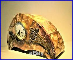 Antique French Marble Clock Large Garniture Art Deco Period