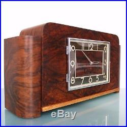 Antique GERMAN Clock HALLER Westminster Mantel Wood Art Deco HIGH GLOSS! Design