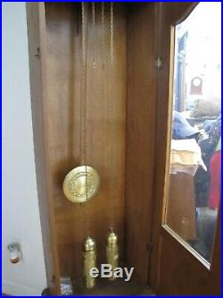 Antique German Art Deco 2 Weight Small Grandfather Clock. Runs and straight