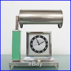 Antique German KIENZLE Mantel Alarm Clock AND Lamp Combination Art Deco CHROMED