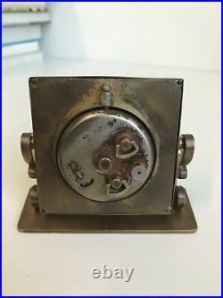 Antique JAEGER LECOULTRE Desk Alarm Clock, Art Deco, Brass, 2 day