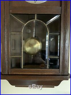 Antique Junghans Regulator German Key Wind Wall Clock 1919 Art Deco 2 Tone Wood