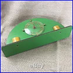 Antique Original Art Deco 1920's 30's Goblin Mantle Clock Green Bakelite