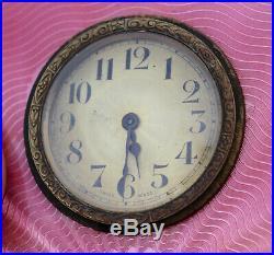 Antique Pink Enamel Sterling Silver. 925 Table Shelf Mantle Clock Swiss Art Deco
