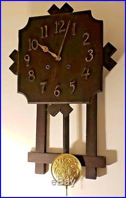 Antique Working 1907 Gilbert Clock Co. Mission Oak Art Deco Regulator Wall Clock