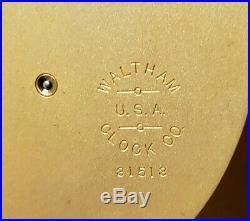 Antique Working 1920 WALTHAM Art Deco Banjo Regulator Wall Clock & Thermometer