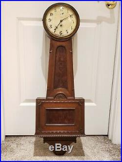 Antique Working 1920's TIFFANY & CO. Art Deco Banjo Regulator Wall Clock CHELSEA