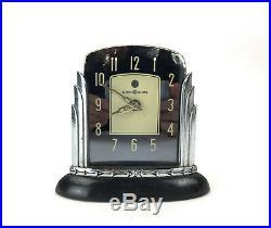 Art Deco 1930s Chrome Mirror Bakelite GE Electric Lotus Clock